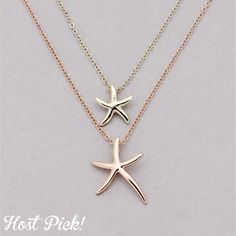 Rose gold & gold tone double starfish necklace 16 plus two inches. Fashion jewelry. New! Bundle with other items  for 15% of. No paypal or trades Jewelry Necklaces