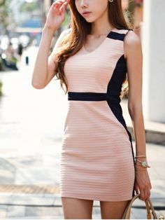 Newest OL commuter bottoming  Dress (Pink,White) Work Dresses from stylishplus.com