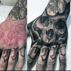 Shaded Black And Grey Guys Skull Tattoo On Hands