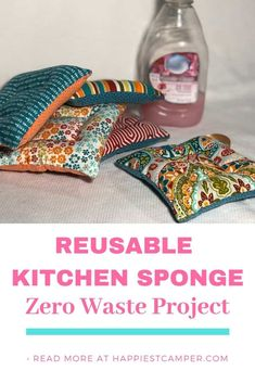 DIY Zero Waste Kitchen Sponge - Happiest Camper consider multiple layers of net over fluff as the sponge will rinse and dry easier mna Easy Sewing Projects, Sewing Projects For Beginners, Sewing Hacks, Sewing Tutorials, Sewing Crafts, Sewing Patterns, Sewing Tips, Sewing Ideas, Diy Projects