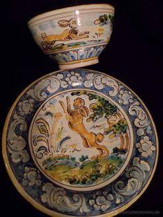 Taza y plato de Talavera Niveiro coleccionistas (Antigüedades - Porcelanas y Cerámicas - España - Talavera)