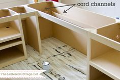 "If you're building (or upgrading) office furniture, here's a smart tip to add ""cord channels"" and cord holes wherever there will be items plugged in--no more criss-crossing, dangling cords! 
