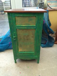 Small pot cupboard, hand painted in Annie Sloane Antibes Green, Florence with gold and gold leaf to the front - refurbished by Ellie Pea Furniture