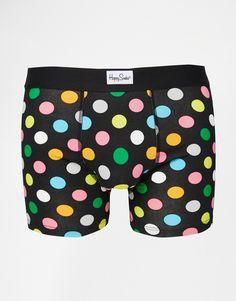 Unterhose von Happy Socks elastischer Jersey durchgehender Print Logoschriftzug am Bund figurbetontes Design Maschinenwäsche 95% Baumwolle, 5% Elastan