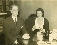 """Felix & Irina having tea in Paris during their law suit with MGM over the film """"Rasputin and the Empress"""""""