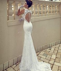 2013 White Ivory Lace Mermaid Beads Wedding Dress Custom Sz 2 4 6 8 10 12 14 | eBay
