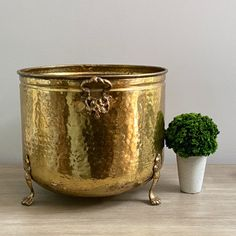 Vintage Planter Vintage Brass Basket Farmhouse Decor Indoor Planter Boho Decor Brass Planter Vintage Brass Planter