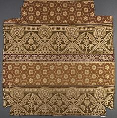 Piece  Christopher Dresser  (British (born Scotland), Glasgow 1834–1904 Mulhouse)   Manufactory:James W. and C. Ward Textile  Date:ca. 1873  Culture:English (Halifax)Medium:Wool and silk  Dimensions:L. 24 3/4 x W. 23 1/4 inches (62.9 x 59.1 cm)Classification:Textiles-Woven