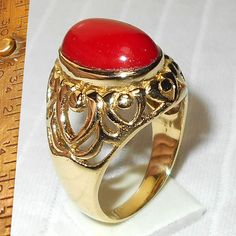 Red Coral Ring  Filigree Ring  Semi-Precious Stone Ring  by Vedka