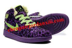 Air Jordan 1 Fluff Leopard Purple Shoes