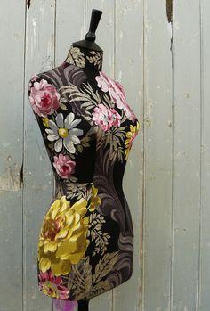 Striking Floral Designers Guild Linen Display Mannequin Dressform - Olivia by Corset Laced Mannequin - http://www.etsy.com/shop/CorsetLacedMannequin
