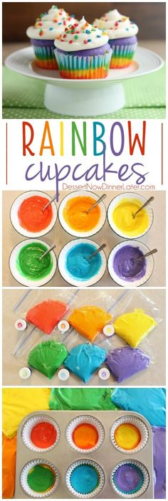These Rainbow Cupcakes are made with a simple boxed white cake mix, colored, and…