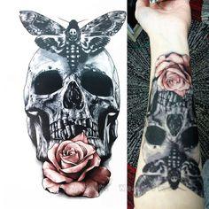 2016 21X15 CM Czaszka Z Moth I Kwiat Fajne Kosmetyczny Tatuaż Wodoodporna Hot Tymczasowe Tatuaż Naklejki