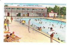 The City Park Pool-Shelby,North Carolina Shelby North Carolina, Pool House Decor, Pool Prices, Edit My Photo, Park City, Vintage Postcards, Boat, Places, Antique