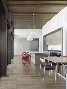 Timber batten ceiling. Warm palate. Kitchen diner. Island bench. Breakfast bar. Timber batten ceiling.