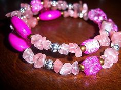 Pink Beaded Wire Bracelet