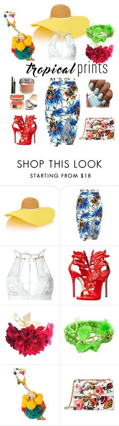 """Feel The Tropics!"" by adornlayla ❤ liked on Polyvore featuring Eugenia Kim, New Look, For Love & Lemons, Giuseppe Zanotti, Lipsy, Aurélie Bidermann, Rosantica, Gucci, Dolce&Gabbana and tropicalprints"