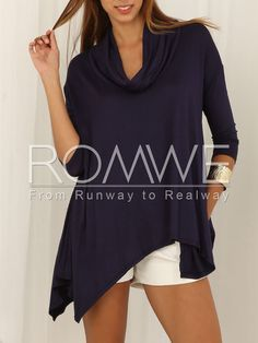 Navy Half Sleeve Asymmetric T-Shirt 14.99