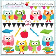 School Time Owls - cute clipart for educational use, crafts and more.