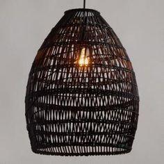 Black Woven Bamboo Pendant Lamp - Natural Fiber by World Market Pendant Chandelier, Hanging Pendants, Pendant Lighting, Drum Pendant, Dining Room Lighting, Home Lighting, Unique Lighting, Decorative Lighting, Bedroom Lighting
