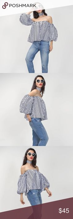 Off shoulder strip bell sleeve with choker top Super cute brand new never been worn! This top is super cute on! Real statement piece!! Comes with matching choker too! One size fits all! Navy blue with white! Tops Blouses
