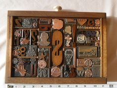 Mouse over image to zoom  Have one to sell? Sell it yourself  Old Letterpress Printing Type & Cuts Mix Graphic Design Wood Copper Metal 90 Pcs