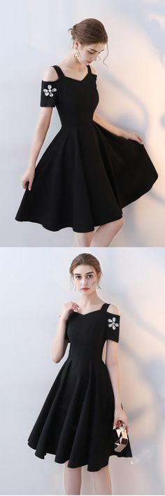 Cute black polyester short prom dress
