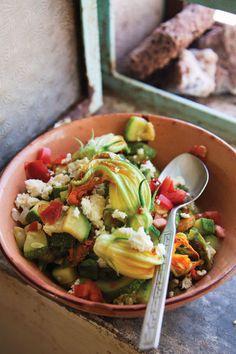 Guiso de Flor de Calabaza (Squash Blossom Sauté)-- Squash blossoms bring color and a light texture to this fresh vegetable stew. Serve it, if you like, with warm corn tortillas.