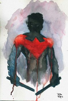 Amazing watercolor of Nightwing