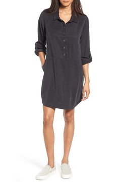 Perfect for throwing on when running late, this draped shirtdress with a washed, slightly shiny finish is as polished as it is easy to wear.