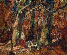 """Autumn Woodland,"" John Edward Costigan, ca. 1947, oil on board, 10 x 12"", private collection."