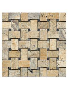 Philadelphia Scabos Travertine Basketweave Honed with Black Dot Mosaic Tile Travertine, Kitchen Countertops, Lake House, New Homes, Stone Backsplash Kitchen, Black Dots, Mosaic Tiles, Mosaic, Stone Backsplash