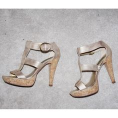 ❗️SUNDAY SALE❗️Chinese Laundry T Strap sandals Gold Chinese Laundry T strap sandals with a cork heel. Chinese Laundry Shoes Sandals