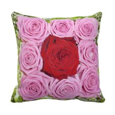 Red and Pink Roses Pillow