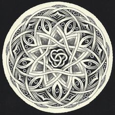zentangle mandala (zendala) from Enthusiastic Artist: Auraknot & Celtic-style Auraknot - This would be a cute tattoo! Doodles Zentangles, Tangle Doodle, Tangle Art, Zentangle Patterns, Doodle Art, Doodle Inspiration, Celtic Art, Celtic Mandala, Celtic Circle