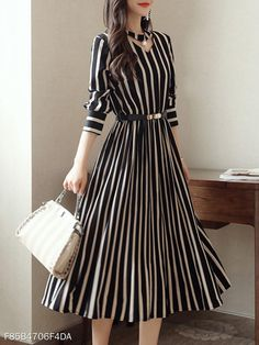 Round Neck Cutout Vertical Striped Belt Midi Skater Dress - Women's style: Patterns of sustainability Elegant Dresses, Casual Dresses, Dresses For Work, Sexy Dresses, Summer Dresses, Midi Dresses, Simple Dresses, Pretty Dresses, Ruffled Dresses