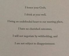 I have no cherished outcomes ...