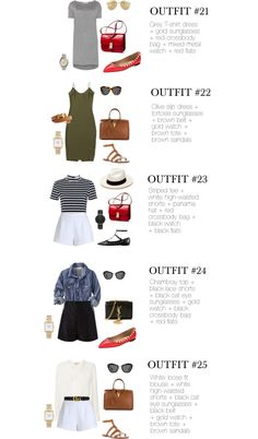 Warm-Weather Vacation: 1 Carry On – 30 Outifts (Chic Street Style) 30 Outfits, Capsule Outfits, Fashion Capsule, Capsule Wardrobe, Summer Outfits, Travel Wardrobe, Black Flats Outfit, Sandals Outfit, Grey T Shirt Dress