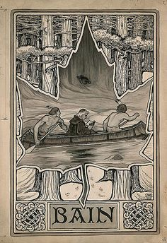 bookplate for ??? Bain ,,, depicts scene of missionary priest reading book in canoe paddled by Indians, centred on maple leaf, surimposed on forest of trees / Toronto Public Library Special Collections, Ontario, Canada