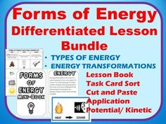 This energy bundle includes:*Potential and Kinetic Energy Examples Cut and Paste*Lesson Book**Forms of Energy Cut and Paste*Energy Changes / transfer Lesson and Cut and Paste Application and Task card Sort*Activity Application: Determining what types of energy common objects use.This Bundle is JAM PACKED with resources-check out the preview!!!!