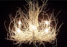 I like this for the foyer.  I think I could make this with a cheap chandelier painted white and then attach branches spray painted white as well.