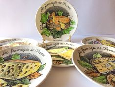 French plates. Cheese plates. French cheese plates. Gien France. Wall plate display. Fromage. Fromage plates. Vintage plates. Hand painted. French Cheese, Plate Display, French Kitchen, Vintage Plates, Little Monkeys, Jar Storage, Paint Designs, Plates On Wall, French Vintage