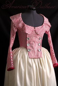 1790s Red and White Striped Jacket 18th century Historical Costume