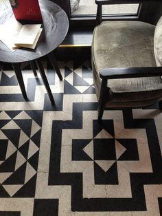 Tranquility and Tilework....Tranquil: Black and White tilework