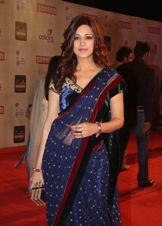 Sonali Bendre in Violet Saree with Velvet Border and Blouse