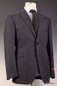 """ISAIA NAPOLI """"Base S"""" Navy Blue Striped Super 120's Wool Suit NEW"""