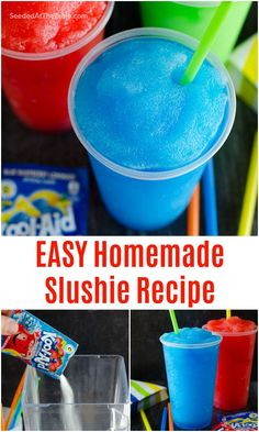 Learn how to make a slushie in your blender at home with just 4 ingredients. This homemade slushie recipe, using Kool-aid powder, is a summertime favorite and comes together in less than 5 minutes! Kid Drinks, Frozen Drinks, Summer Drinks, Beverages, Kool Aid, Alcohol Drink Recipes, Punch Recipes, Slush Recipes, Smoothie Drinks