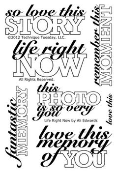 Technique Tuesday - Clear Acrylic Stamps - Life Right Now by Ali Edwards at Scrapbook.com $19.99