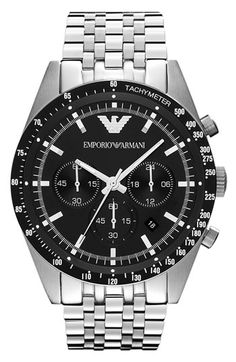 Free shipping and returns on Emporio Armani Chronograph Bracelet Watch, 46mm at Nordstrom.com. A seven-link stainless-steel bracelet gives a tailored look to a sports-minded chronograph watch that goes from work to weekend.