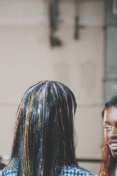 tinsle hair at Ashish SS15